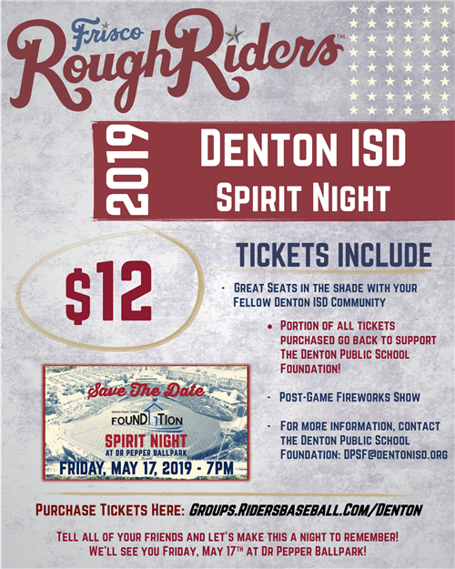 Frisco Rough Riders Spirit Night $12 Tickets