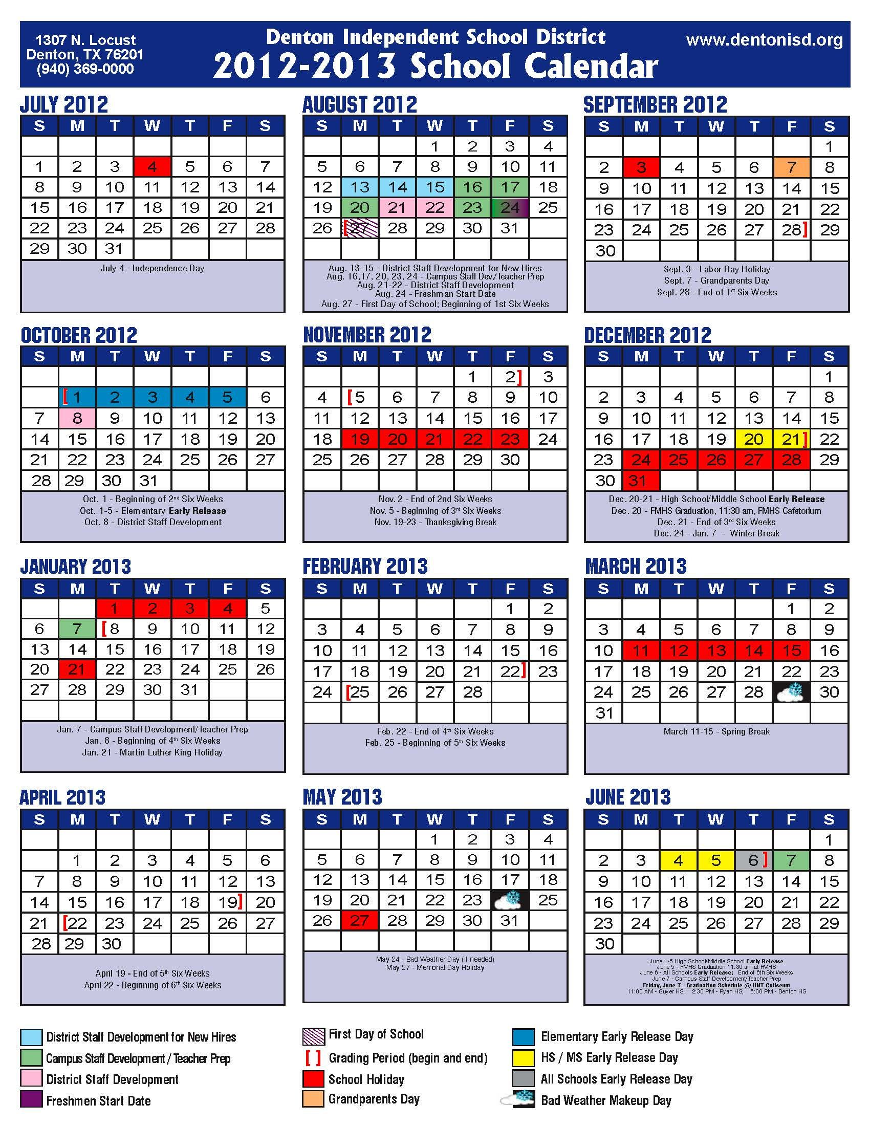 ... Calendar, Lubbock ISD Spring Break 2013, , Lubbock ISD Calendar