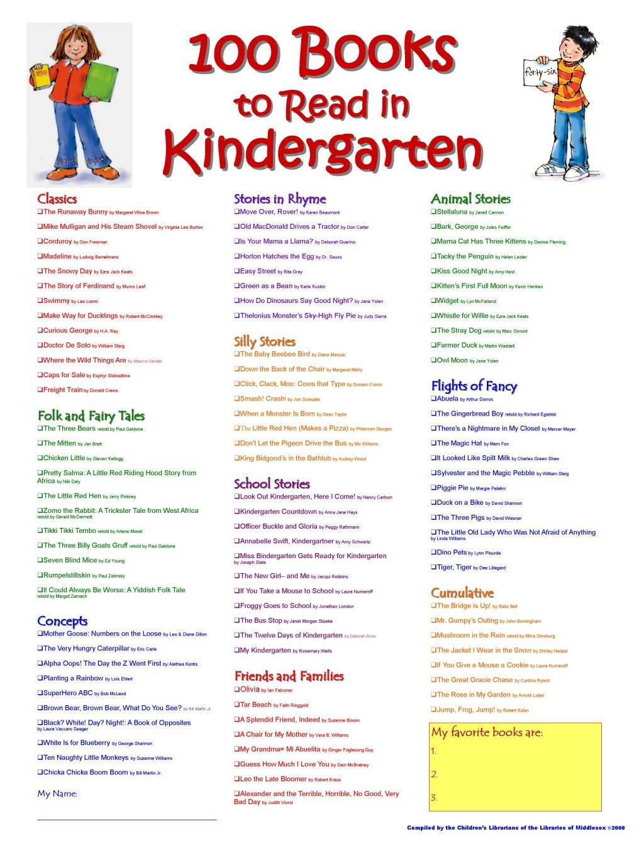 pre k kindergarten 100 books to read in kinder. Black Bedroom Furniture Sets. Home Design Ideas