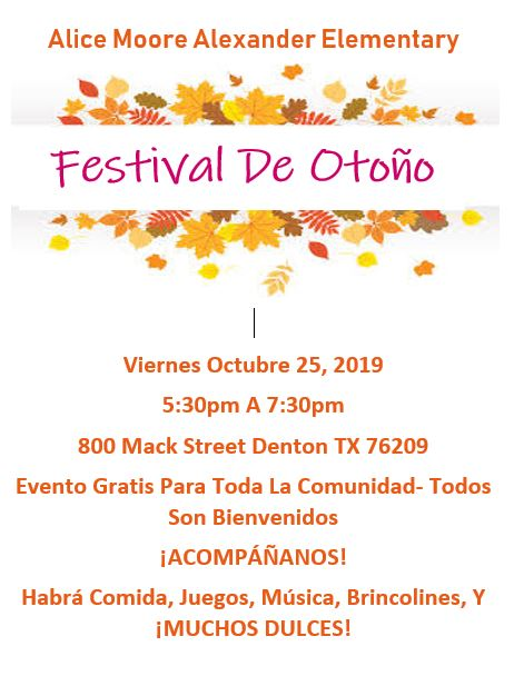 Alice Moore Alexander Elementary's Fall Festival and Trunk or Treat  Viernes Octubre 25, 2019 5:30p