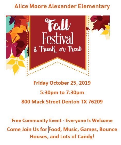 Alice Moore Alexander Elementary's Fall Festival and Trunk or Treat!  Friday October 25, 2019 5:30p