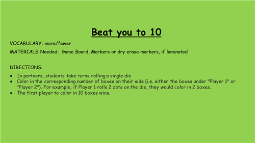 Beat you to 10
