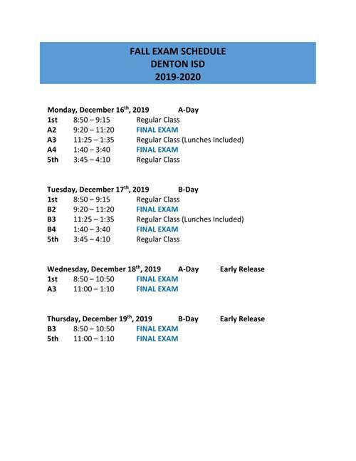 2019 Fall Exam Schedule