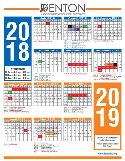 Denton Isd Calendar 2020 2019   2020 DISD Calendar / Overview