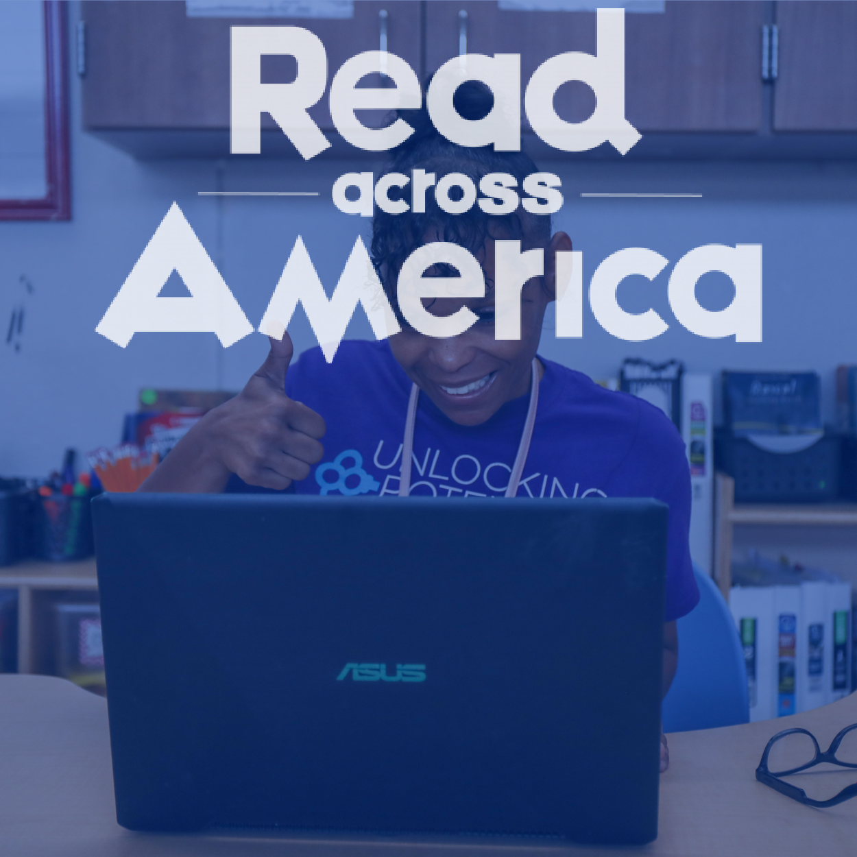 Denton ISD Teacher teaching virtually, Read Across America Logo