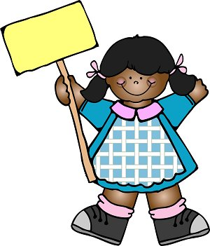 D.J. Inkers Clip Art Girl with sign