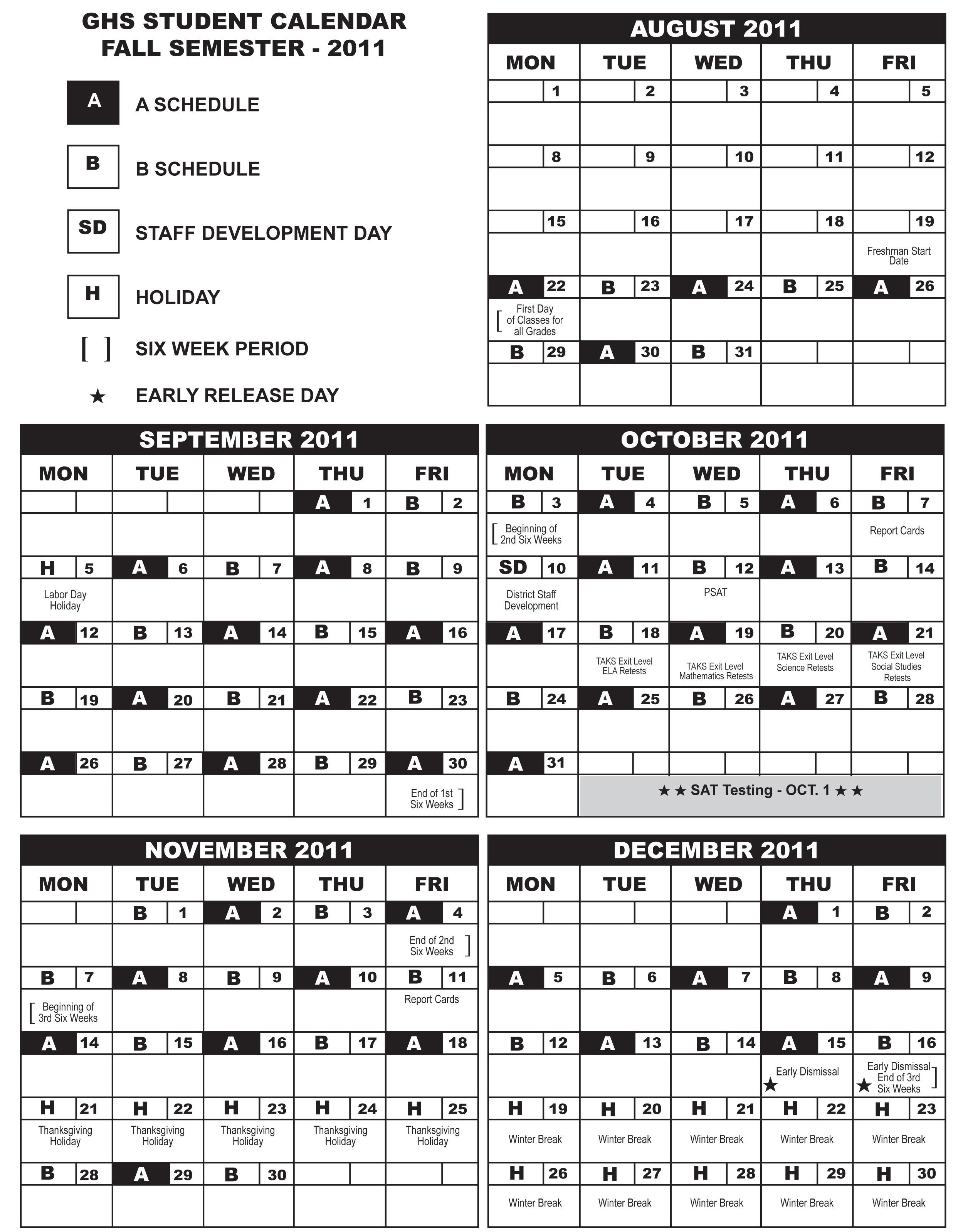 Denton Isd Calendar 2020 Calendar of A/B days / Overview
