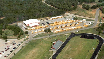 Aerial view of the Main Transportation compound near Ryan High School